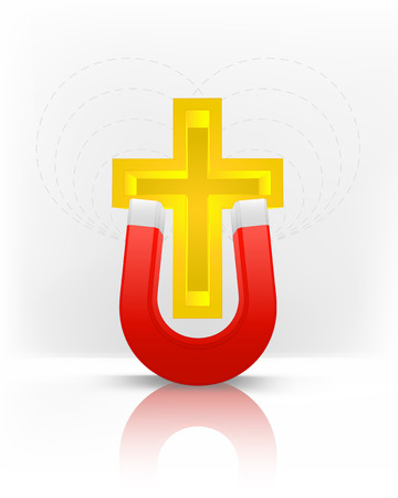 magnetic field: golden cross attracted with magnet magnetic field vector illustration