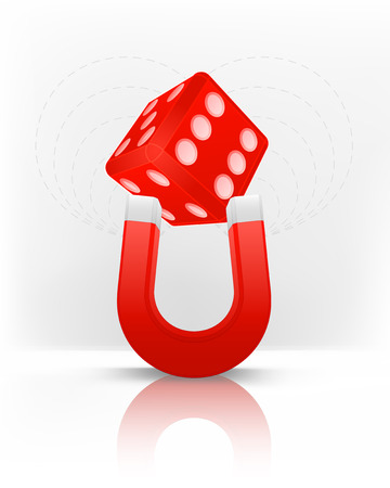 magnetic field: lucky dice attracted with magnet magnetic field vector illustration Illustration