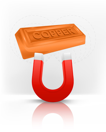 copper magnet: copper bar attracted with magnet magnetic field vector illustration