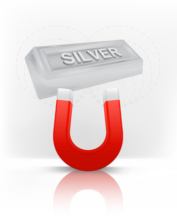 silver bar attracted with magnet magnetic field vector illustration Vector