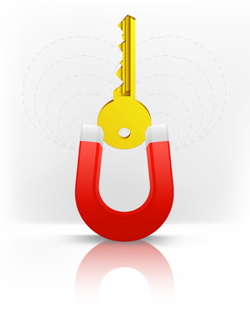 golden key attracted with magnet magnetic field vector illustration