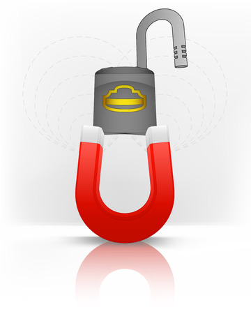 magnetic field: open padlock attracted with magnet magnetic field vector illustration Illustration
