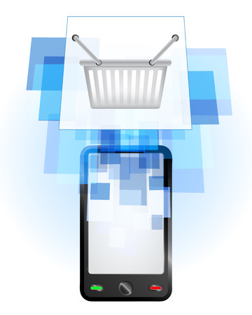 telecomunication: shopping basket in mobile phone communication frame vector illustration