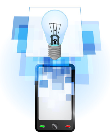 telecomunication: blue lightbulb in mobile phone communication frame vector illustration
