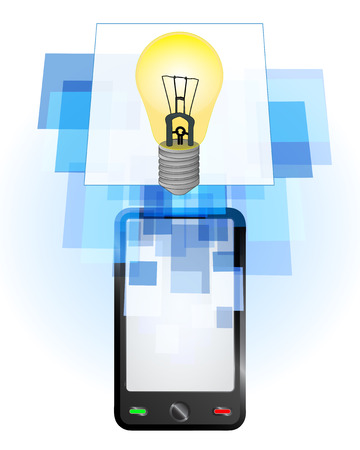 telecomunication: yellow lightbulb in mobile phone communication frame vector illustration