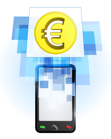 Euro coin in mobile phone communication frame vector illustration