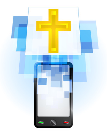 telecomunication: golden cross in mobile phone communication frame vector illustration Illustration