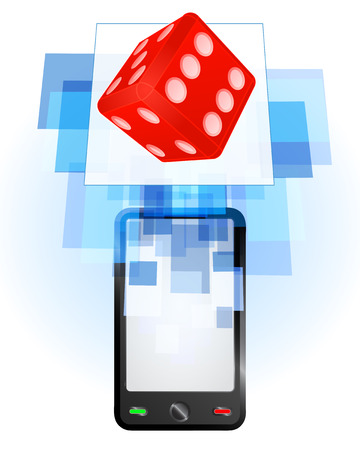 telecomunication: lucky dice in mobile phone communication frame vector illustration