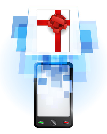telecomunication: gift box in mobile phone communication frame vector illustration Illustration