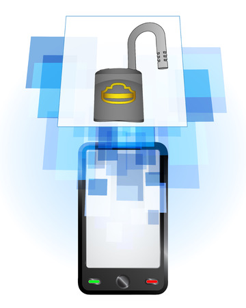 telecomunication: open padlock in mobile phone communication frame vector illustration