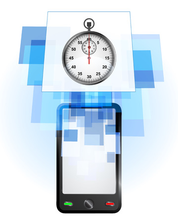 telecomunication: stopwatch in mobile phone communication frame vector illustration Illustration