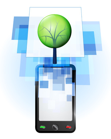 telecomunication: leafy tree in mobile phone communication frame vector illustration Illustration
