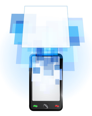 telecomunication: mobile phone communication empty frame vector illustration Illustration