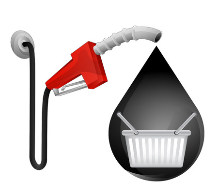 purchasing power: shopping basket in oil drop with pump station vector illustration
