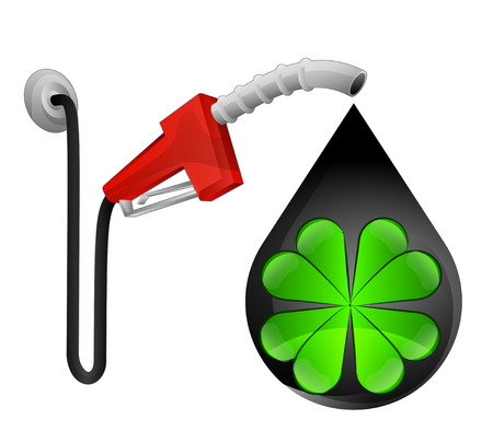 felicity: cloverleaf happiness in oil drop with pump station vector illustration Illustration