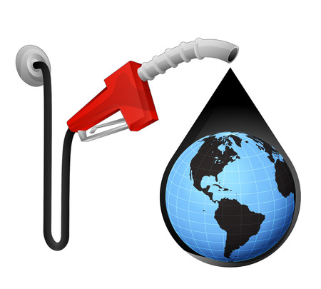 commodity: America world globe in oil drop with pump station vector illustration