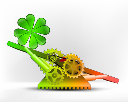 cloverleaf happiness in green area on swing machine concept vector illustration Vector