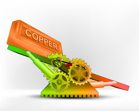 raw material: copper bar in green area on swing machine concept vector illustration