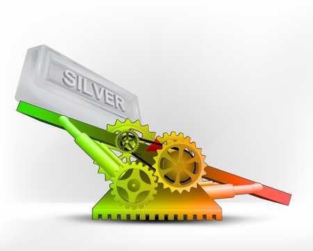 silver bar: silver bar in green area on swing machine concept vector illustration