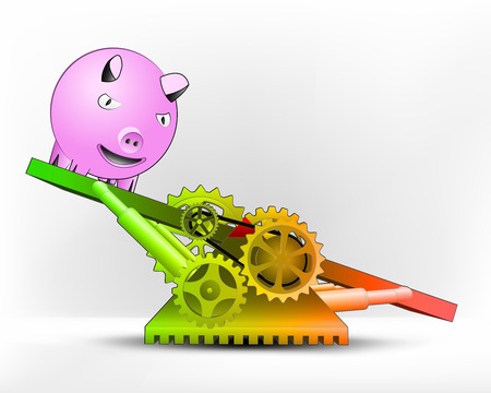 happy pig in green area on swing machine concept vector illustration Vector