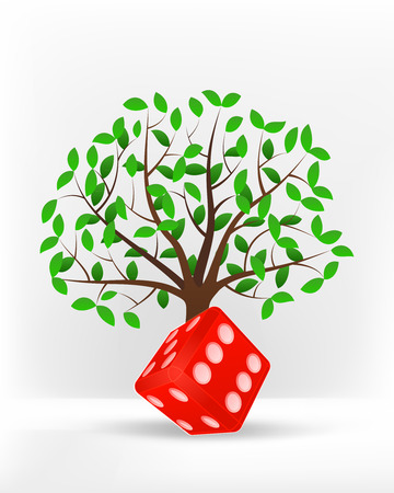 lucky dice in front of green leafy tree vector illustration Vector