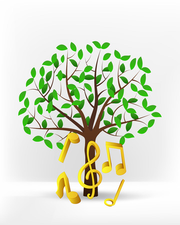golden music in front of green leafy tree vector illustration 向量圖像