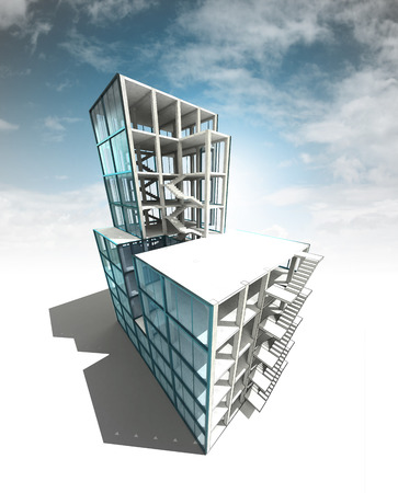concept of architectural building plan with sky render illustration illustration