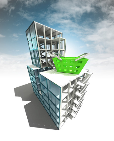 building trade: trade concept of architectural building plan with sky illustration Stock Photo