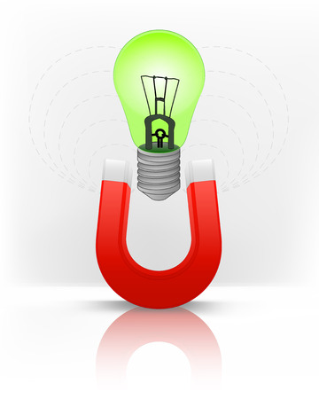 magnetic field: green lightbulb attracted with magnet magnetic field vector illustration Illustration