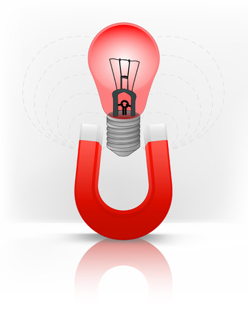 magnetic field: red lightbulb attracted with magnet magnetic field vector illustration Illustration