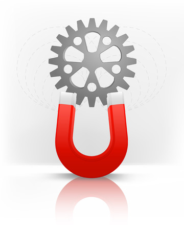 magnetic field: industrial cogwheel attracted with magnet magnetic field vector illustration