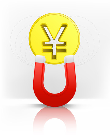 magnetic field: Yuan coin attracted with magnet magnetic field vector illustration