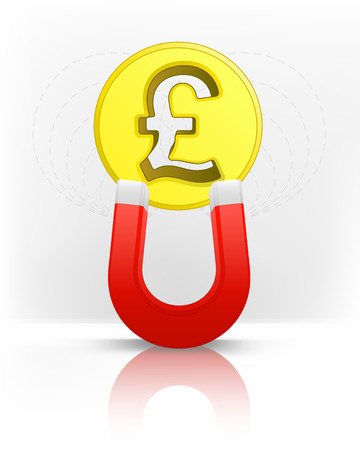 magnetic field: Pound coin attracted with magnet magnetic field vector illustration