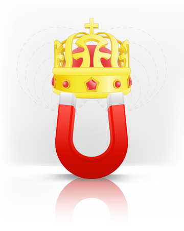 magnetic field: royal crown attracted with magnet magnetic field vector illustration