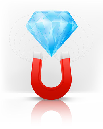 magnetic field: diamond jewel attracted with magnet magnetic field vector illustration