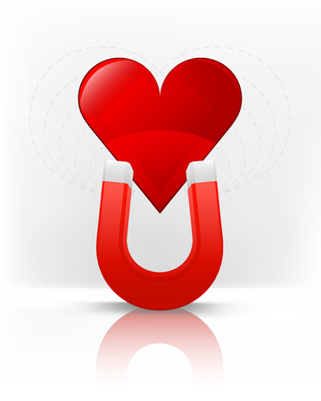 magnetize: red heart attracted with magnet magnetic field vector illustration Illustration