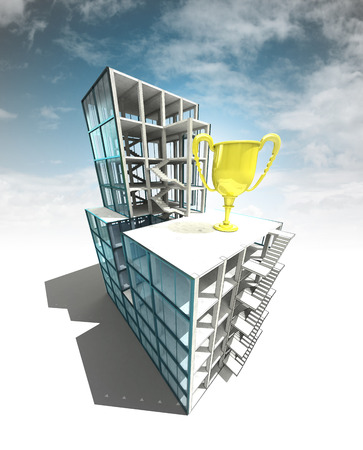 competition concept of architectural building plan with sky illustration illustration
