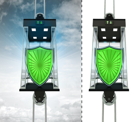 security shield in sky elevator concept also isolated one illustration illustration