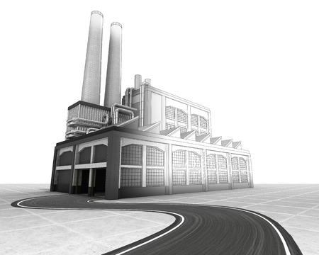 isolated half wire factory building sketch with road illustration illustration