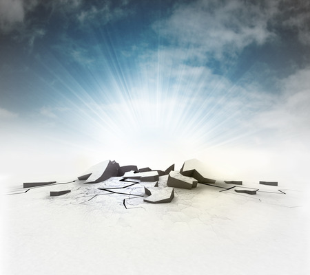 cracked ground hole with flare and sky illustration