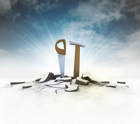 dyi: hand tools stuck into ground with flare and sky illustration Stock Photo