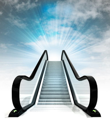 empty escalator leading to sky concept render illustration illustration