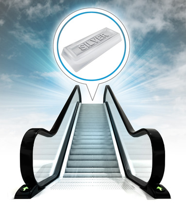 silver ingot in bubble above escalator leading to sky concept illustration illustration