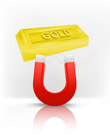 magnetic field: golden bar attracted with magnet magnetic field vector illustration