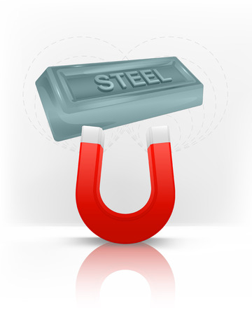steel bar: steel bar attracted with magnet magnetic field vector illustration Illustration