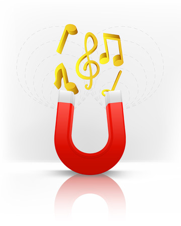 magnetic field: golden music attracted with magnet magnetic field vector illustration Illustration