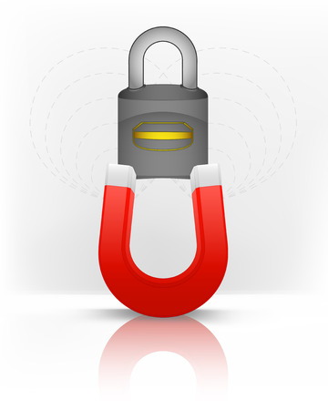 magnetic field: closed padlock attracted with magnet magnetic field vector illustration Illustration