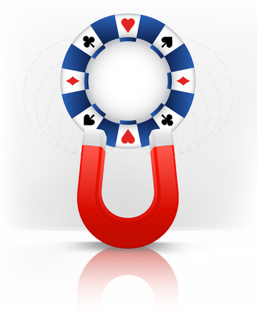 magnetic field: poker chip attracted with magnet magnetic field vector illustration Illustration