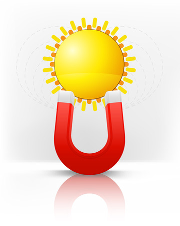 magnetic field: yellow sun attracted with magnet magnetic field vector illustration