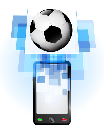 telecomunication: football ball in mobile phone communication frame vector illustration